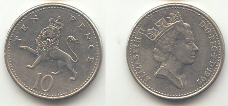 Монета ten pence 1992 цена 2 коп 1969 года цена разновидность